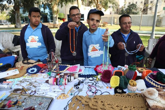 Egyptian children with Down syndrome exhibit hand-made creations