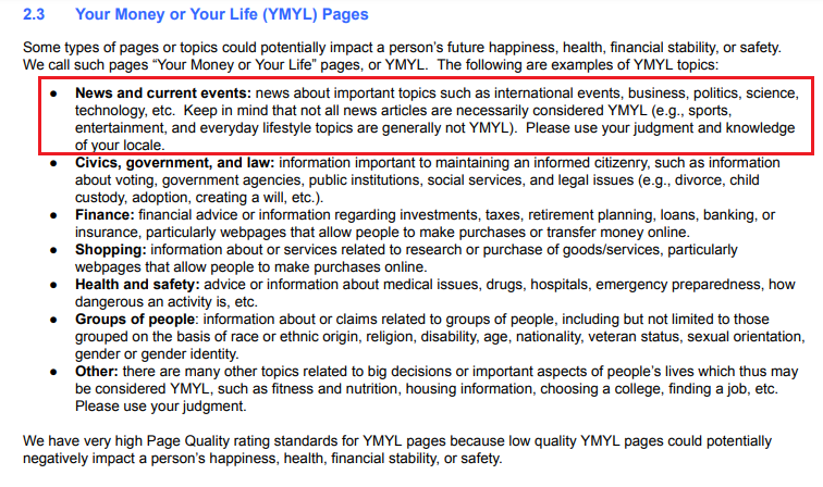 google search quality guidelines - news sites
