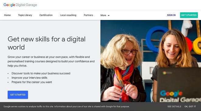 You can learn the basics of digital marketing for free in Google's bite-sized classes in the Google Digital Garage.