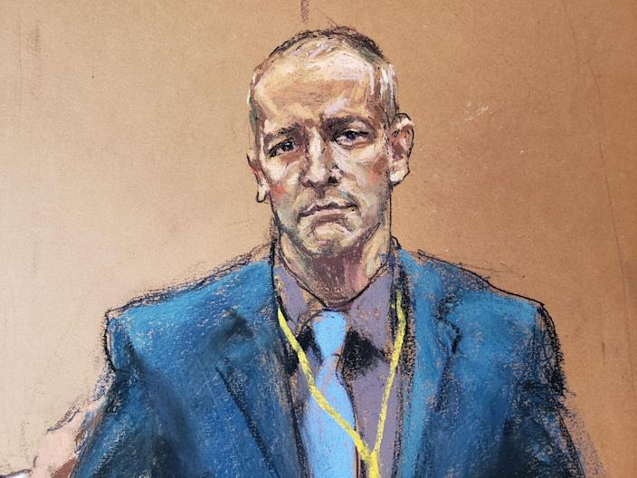 <p>A courtroom sketch of Derek Chauvin, the former Minneapolis police officer facing murder charges in the death of George Floyd.</p> (REUTERS)